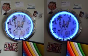Caricatures in Neon Clock